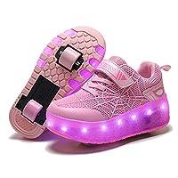 Kinderen Jongens Meisjes LED-licht Sneakers Heelys met dubbel TWEE wiel intrekbaar Technisch skateboarden Knipperende skates Schoenen, voor jongens en meisjes,Pink,34