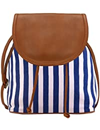 Kleio Women's Canvas Blue and Brown Sling Bag
