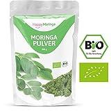 Moringa Pulver Bio von Happy Moringa - 200g Moringapulver hochdosiert in Bio Qualität aus reinem Bio Moringa oleifera Blattpulver. Das Moringa olifeira ist absolut natürlich & bio-zertifiziert. 100% Happy!