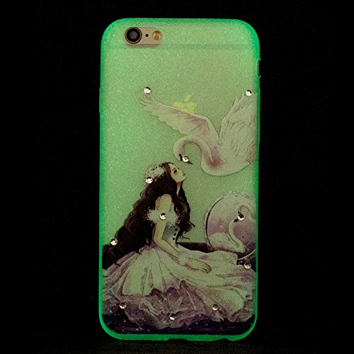Coque iPhone 7 , Etui iPhone 7 , Anfire Lumière Noctilucent Etui Souple Flexible en Premium TPU Apple iPhone 7 Plus (4.7 pouces) Ultra Mince Gel Silicone Transparent Clair Housse de Protection Nuit So Jaune Citron