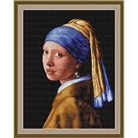 """Luca-S LB467 - Kit de punto de cruz contado, 41 x 27 cm, diseño """"La joven de la perla"""" de Vermeer"""