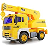 IndusBay Friction Powered Construction Automobile Crane Truck Toy With Light & Sound For Kids