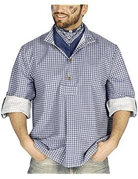 Trachtenhemd blau weiß kariert - Herren Hemd für Oktoberfest und Kirchweih