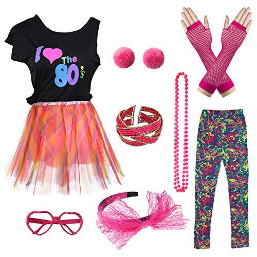 Kostüm Leopard Star Rock - Ich Liebe 80er Jahre T-Shirt Pop Party Rock Star Kind Mädchen Kostüm Accessoires ausgefallene Outfits (8/10, Pink Leopard)