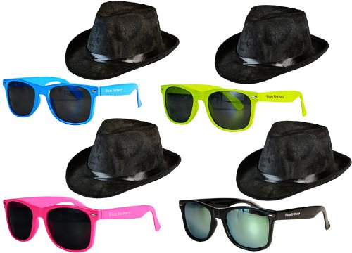 Blues Brother Kostüm Set Brille + Hut: Farbe: (Brille Brothers Blue)