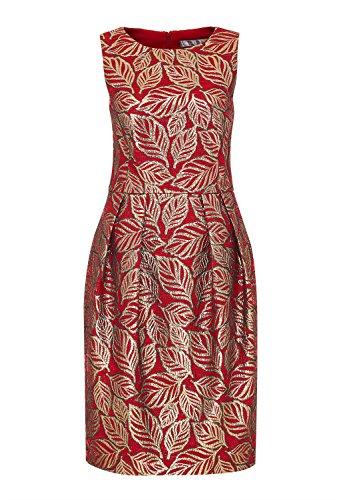 HALLHUBER Jacquard-Kleid mit Lurex-Blättermotiv körpernah geschnitten rot, 36 (Lurex-jacquard)