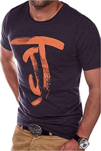 JACK & JONES Herren T-Shirt Kurzarmshirt Top Print Shirt Casual Basic O-Neck (L, Dark Grey Melange)