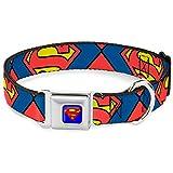 Buckle Down 33–45,7cm Superman Shield Nahaufnahmen Hundehalsband, blau/rot/gelb, breit klein