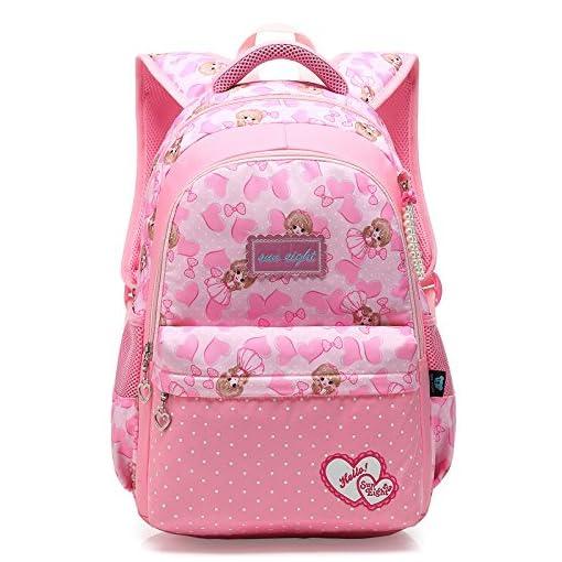 Girls-School-Bag-BackpackPrincess-School-Nylon-Backpack-Ideal-for-1-6-Grade-School-StudentsRucksack-Backpack-for-Kids-Toddlers-Child-Teens-Casual-Daypacks-Travel-BagFlower-Pink