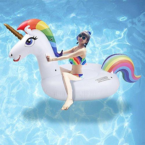 Unicorno gonfiabile galleggianti - newyang 2018 nuovo design,fatto di pvc ambientale,spessore, morbido e durevole, migliore giocattolo della piscina di estate per gli adulti ed i bambini (galleggianti)