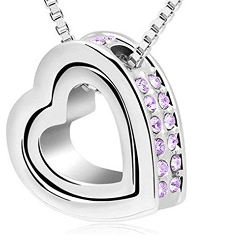 LHWY 1pc Moda Doble de Cristal de Diamante de Imitacion Collar de Plata corazon de Amor Eterno