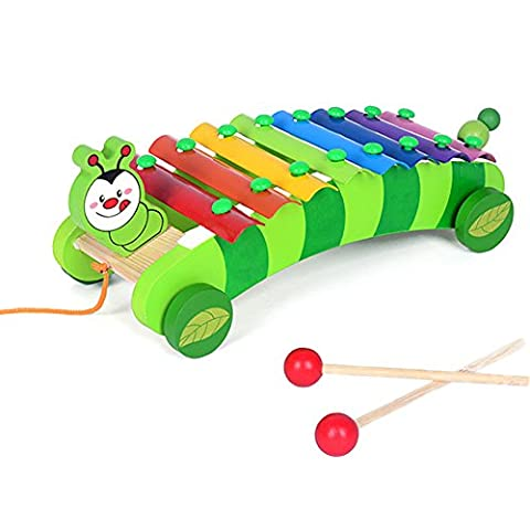 Jewelry Rarity 8-Note Caterpillar Xylophone Hand Knock Piano Wooden Educational Toy for Baby Kids