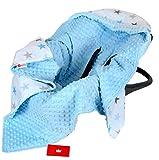 BabyLux Baby EINSCHLAGDECKE 90x90 cm Babyschale Kinderwagen Buggy Minky Decke (4. Blau + Sterne)