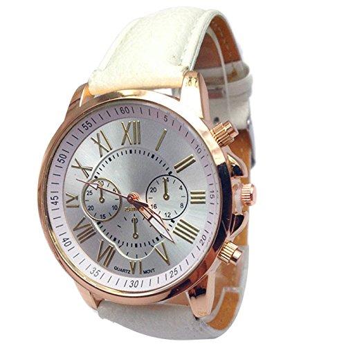 Sonnena Damen Armbanduhren, Luxus Mode Edelstahl Analoge Quarz Armbanduhren Frauen Casual Casual Falsch Lederband Uhr Damenuhr Outdoor Armband Armbanduhr Wrist Watch (weiß)