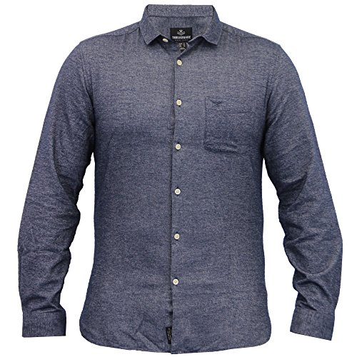 Herren Baumwolle Oxford Chambray Hemden Threadbare Formell Freizeit Langärmlig Neu Marineblau - KMV022PKA