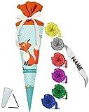 alles-meine.de GmbH Schultüte -  Fuchs - Mein 1. Schultag  - 70 cm - rund - incl. individueller Schleife - Filzabschluß - Zuckertüte - mit / ohne Kunststoff Spitze - für Jungen..