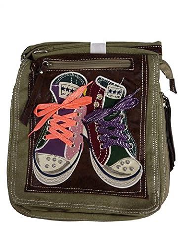 LOOKID 5006 Umhängetasche mit Chucks, crossbag in 2 Größen 35x32x9, grün olive hellgrün,