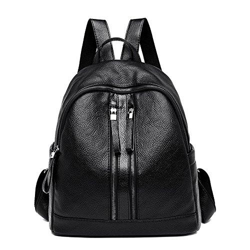 HEXIN 2018 Nuovo Donna Vera Pelle Zaino Scuola Fashion Multifunzione Zaini Grande Viaggio Daypack Casual Colore Puro Zaino