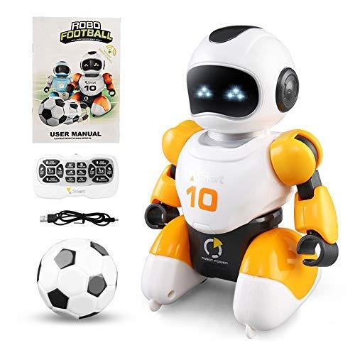 Interaktive Fernbedienung Roboter Spielzeug, Kinder Roboter Spielzeug mit Walking Music Dance Roboter, Indoor Soccer Game Spielzeug Geschenke für 3-10 Jahre alte Jungen Mädchen (gelb)