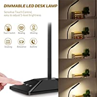 LED Desk Lamp Eye-protection Table Lamp (8W, 5V/2A USB Output, Touch Control, 5-Level Brightness, 5-Level Color Temperature, 2700K-6000K, Black) for Bedtime, Relaxation, Reading, Studying, Home, Office, Library, Dormitory. by TOPELEK