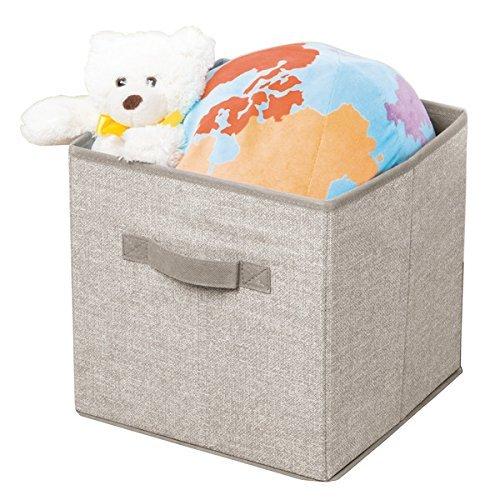 mDesign 2er-Set Baby Organizer - praktische Aufbewahrungsbox in Stoff-Optik - universell einsetzbare Ablagebox für Babyutensilien, Spielzeug, Decken & Co. - beige