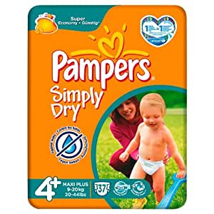 Pampers Simply Dry Size 4+ (9-20kg) Mid Pack 6 x 37 per pack