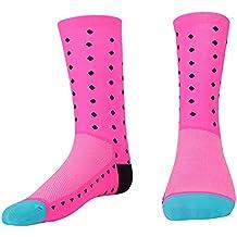 VGEBY Calcetines de Ciclismo 1par Calcetines Deportivos Calcetines Unisexo 3 Colores(Rosa)