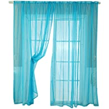 Malloom®(200cmx100cm)color sólido tul puerta cortina de la ventana panel de cortina puro bufanda cenefa (azul)