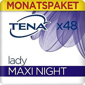Tena Lady Maxi Night, Monats-Paket mit 48 Einlagen (8 Packungen je 6 Einlagen)