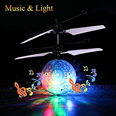 RC Flying Ball, niceEshop(TM) Music Flying Ball Infrared Induction Helicopter Ball with Rainbow Shinning LED Lighting Colorful Flying Toys Gift for Kids/Teenagers/Boys/Girls by niceeshop