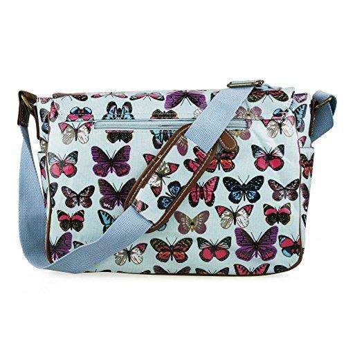 Miss Lulu - Borsa a tracolla da donna, stile vintage, motivo: gufi con foglie/farfalle, in tela o cerata Butterfly Light Blue