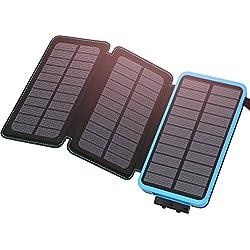 Hiluckey Cargador Solar 24000mAh Power Bank Portátil con 2 Ports 2.1A Output Batería Externa Impermeable con 3 Paneles Solar y LED Ligeros para iPhone, iPad y Samsung Galaxy y más