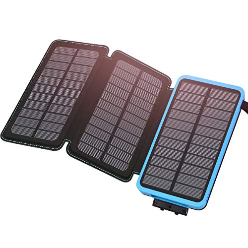 Hiluckey Caricabatterie Portatile 24000mAh, Solare Power Bank con 3 Pannelli Solari Impermeabile Extenal Battery Uscita 2.1A Ricarica per iPhone, iPad, Samsung Galaxy, Tablets ECC.