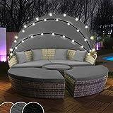 Swing & Harmonie Polyrattan Sonneninsel mit LED Beleuchtung + Solarmodul inklusive Abdeckcover Rattan Lounge Sunbed Liege Insel mit Regencover Sonnenliege Gartenliege (180cm, Grau)