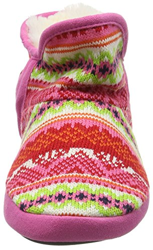 Dearfoams Fairisle Bootie With Microsuede Trim and Memory Foam, Pantofole Donna Multicolor (Bright Combo 10977)