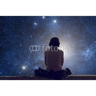 Girl Watching The Starry Skies (80722414), Aluminium-Dibond, 80 x 50 cm