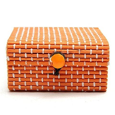 Jiacheng29Bague Collier Boucles d'oreilles Bambou Coque en bois Bijoux Boîtes de rangement support Cadeau, Orange, Taille unique