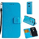 Sony Xperia XZ2 Compact Hülle, Sony Xperia XZ2 Compact Tasche Leder, Huphant Flip Case Leder [One-sided Imprited Butterfly Serie]PU Leather Case Wallet Case Magnet Case Book Case Schutzhülle Klappbar für Sony Xperia XZ2 Compact (5 Zoll)+1X Schwarzer Stylus Touchscreen Pen - Blau