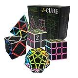 HJXDtech- Z CUBO Caja de regalo de rompecabezas con 5 cubo mágico diferente 2x2x2 3x3x3 Megaminx Skewb Pyraminx Cubo de cubo profesional de rompecabezas cubo para adultos y niños (Fibra de carbon)
