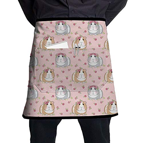 Guinea Pigs with Roses Half-Length Short Waist Apron with Pocket for Barbecue, Kitchen -