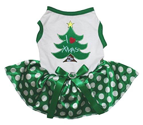 Petitebelle Dog Dress I Love Xmas Tree White Cotton Polka Dots Green Tutu (Small) (White Xmas Tree)