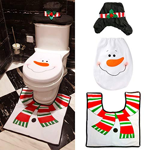 Lunji 3pcs Decoración Navidad Alfombra baño WC Funda