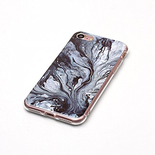 XiDe Coque iPhone 8 Premium Motif Texture en Marbre Housse Antichoc Case Silicone Gel Coque Ultra Mince Etui Cover Housse de Protection avec Anti-dérapante Anti-rayure - Fissures Dorées Lave Noire