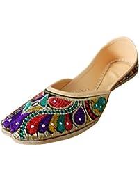 Kalra Creations Donne Tradizionale Indiano in Velluto con Ricamo Designer  Scarpe c8d46f04e0f
