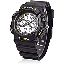 Leopard Shop HOSKA H004B Multifunctional Sport Watch Digital Quartz Children Wristwatch Chronograph Calendar Alarm EL Backlight 50M Water Resistance Yellow Black