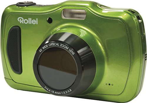 Rollei Sportsline 100 - vielseitige Digitalkamera mit 20 MP, 4-fach optischem Zoom, spritzwasserfest und wasserdicht bis zu 10 Meter mit Foto-Zeitraffer-Funktion - Grün Lcd 230k