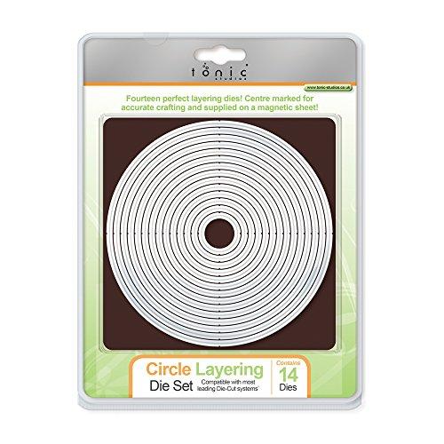 Tonic Studios 481e Bastelbedarf, Kreisförmiges Stanzschablonen-Set für Mehrlagige Muster