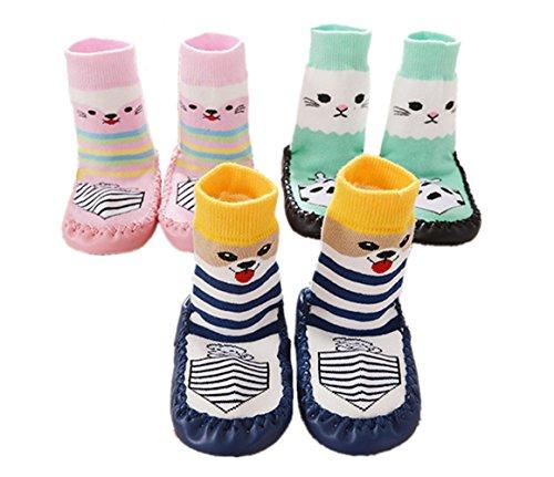 SWEETBB 3 Paare Baby Hüttenschuh, Cartoon Anti-Rutsch Boden Socken, 11-15 cm, 0-24 Monate, sehr weich (18-24 Monate, Mädchen)