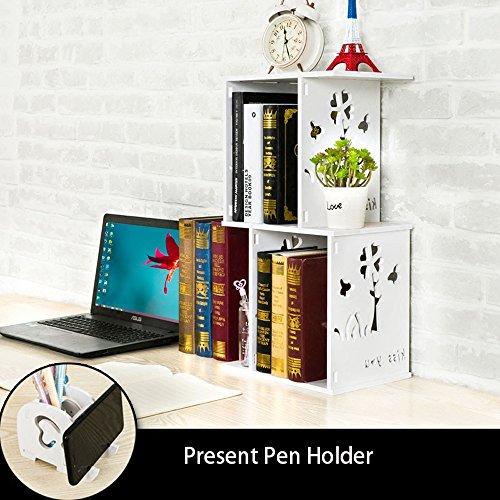 Weiße Dünne-speicher-kabinett (IVNZEI Bücherregal 2-Tier Desktop Bücherregal Organizer Weiß Lagerregal für Home Kitchen Office (Color : #2))