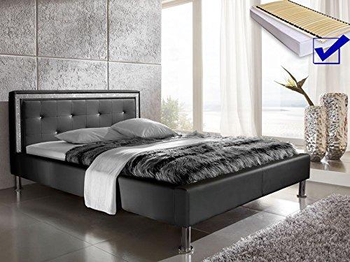 Polsterbett Dave 140x200 schwarz + Lattenrost + Matratze Strassband Lifestyle Bett Singlebett Jugendbett
